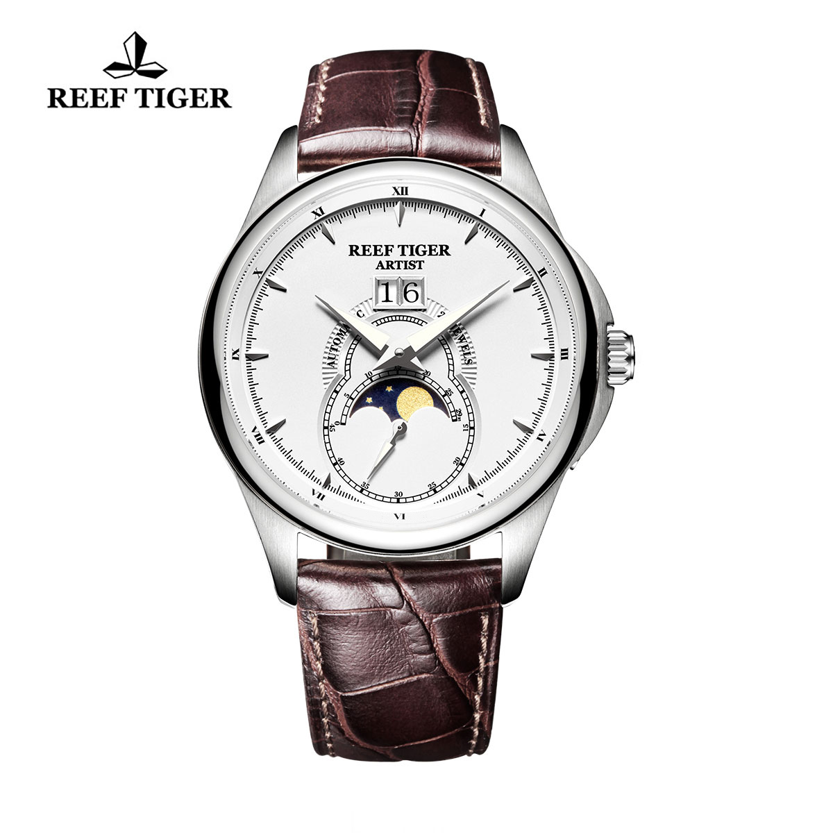 Reef Tiger Knighthood Casual Watch with Dual Calendar White Dial Steel Case RGA1928-YWB