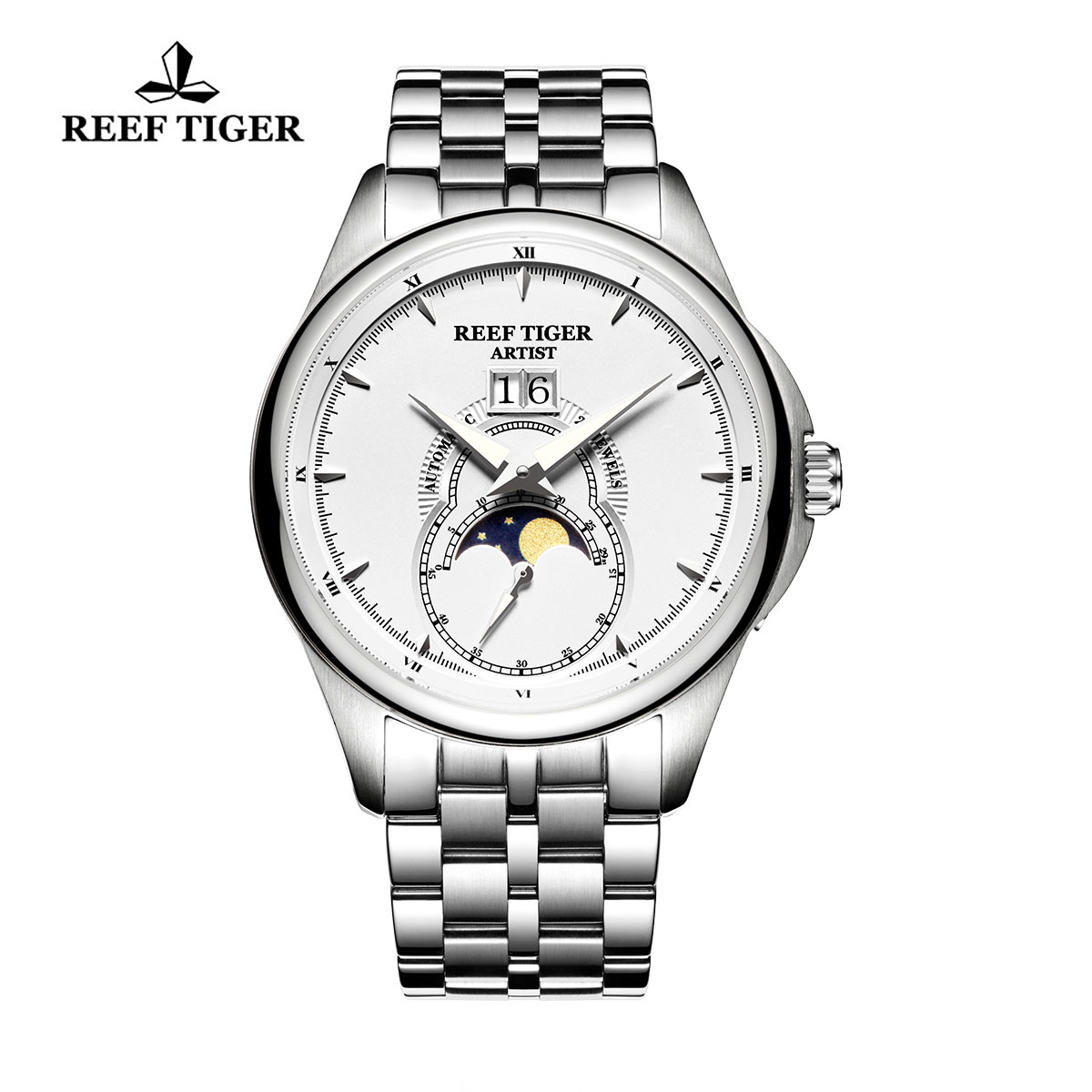 Reef Tiger Knighthood Casual Watch with Dual Calendar White Dial Full Steel RGA1928-YWY