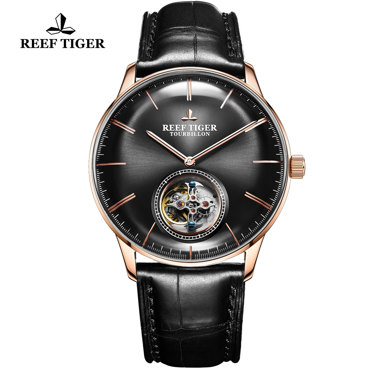 Reef Tiger Seattle Tourbillon Fashion Rose Gold Black Dial Leather Strap Automatic Watch RGA1930-PBB