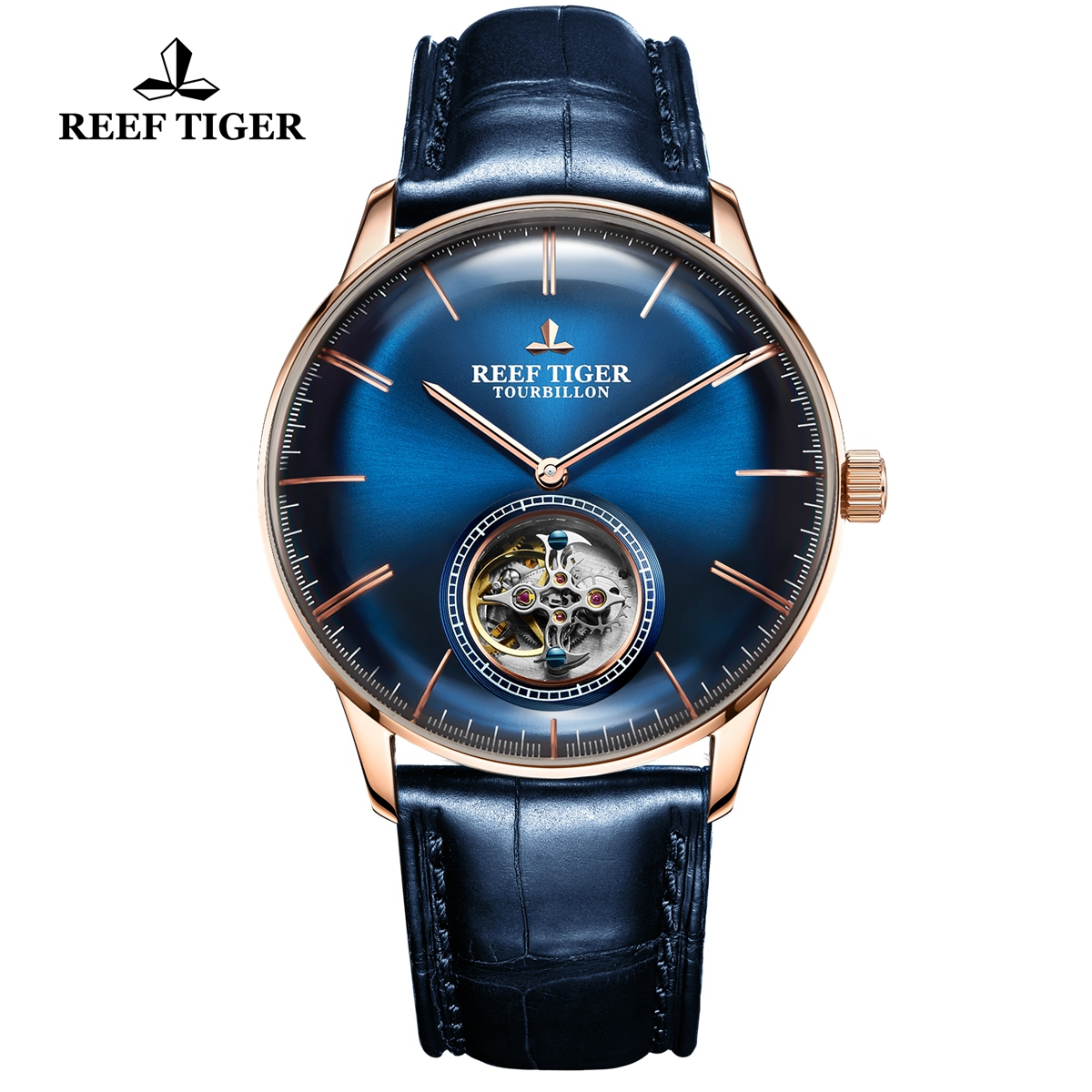 Reef Tiger Seattle Tourbillon Fashion Rose Gold Blue Dial Leather Strap Automatic Watch RGA1930-PLL