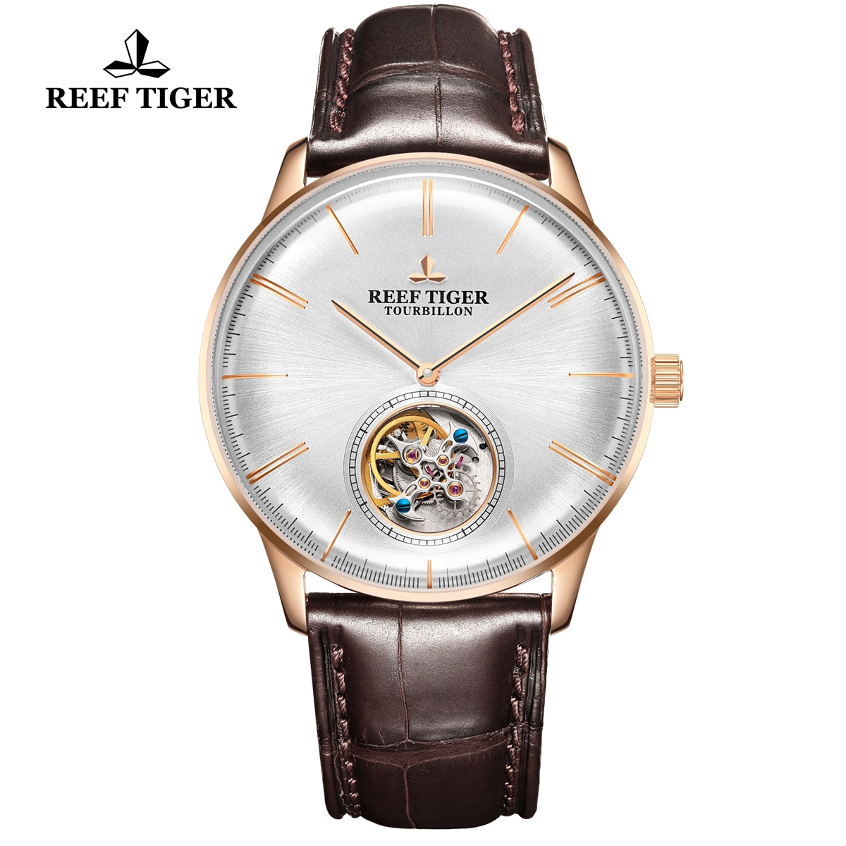 Reef Tiger Seattle Tourbillon Fashion Rose Gold White Dial Leather Strap Automatic Watch RGA1930-PWS