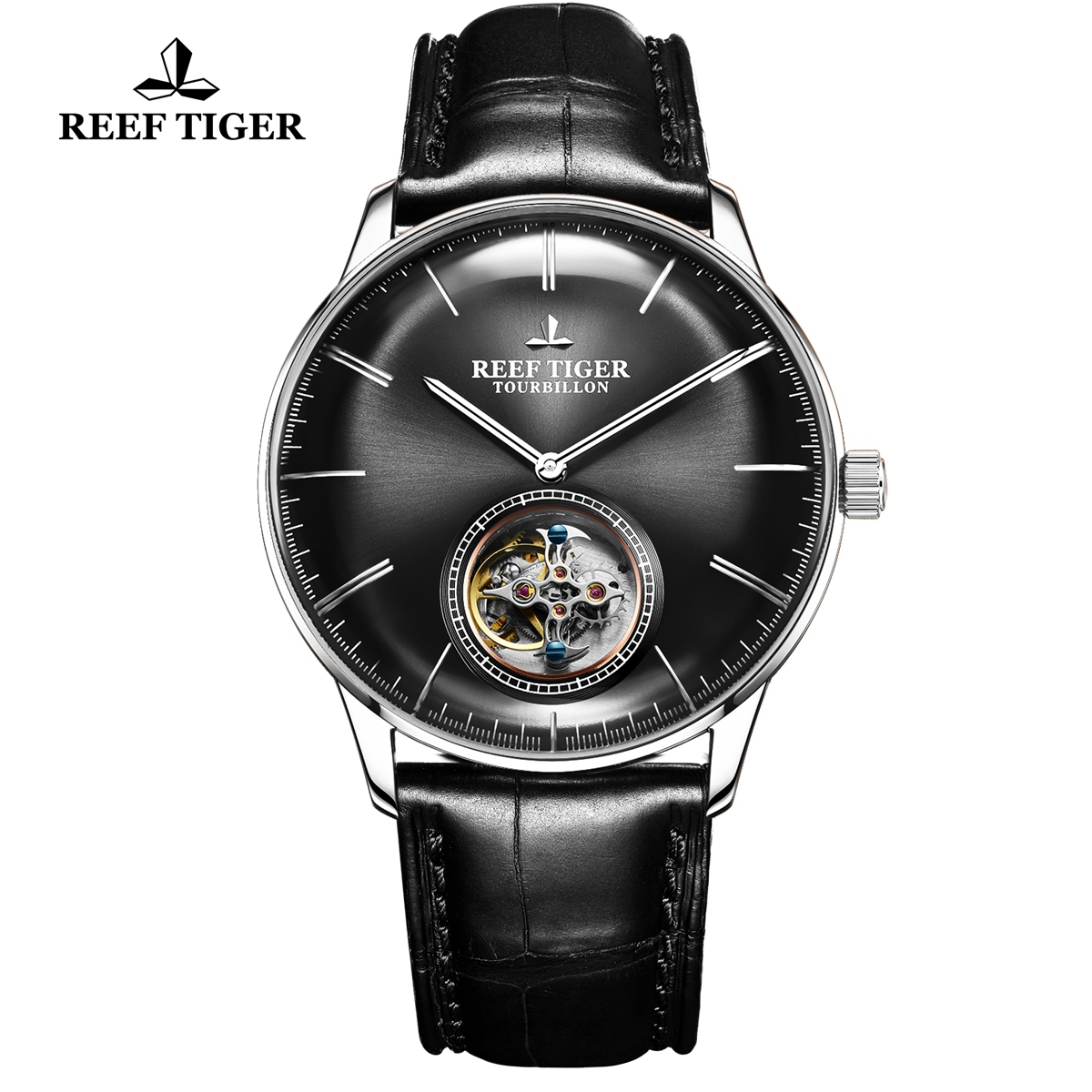 Reef Tiger Seattle Tourbillon Fashion Steel Black Dial Leather Strap Automatic Watch RGA1930-YBB
