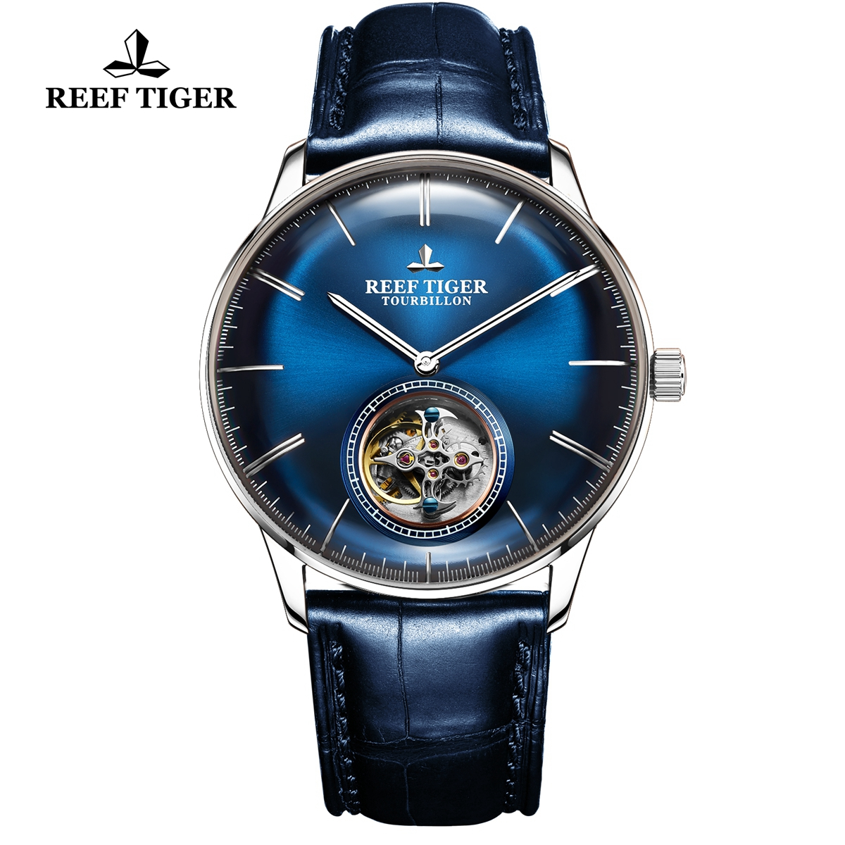 Reef Tiger Seattle Tourbillon Fashion Steel Blue Dial Leather Strap Automatic Watch RGA1930-YLL