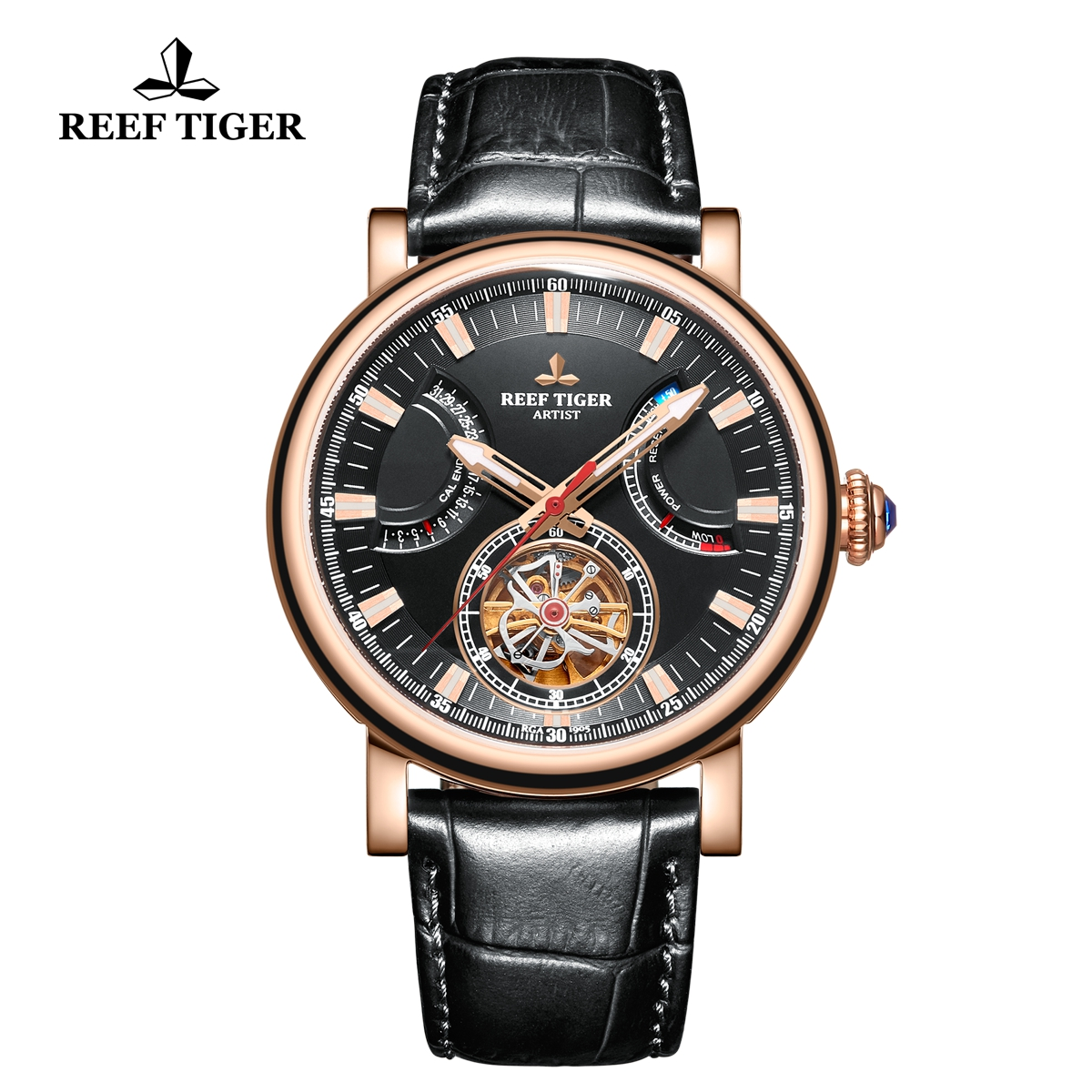 Reef Tiger Artist Photographer Rose Gold Leather Strap Black Dial Tourbillon Automatic Watch RGA1950-PBB