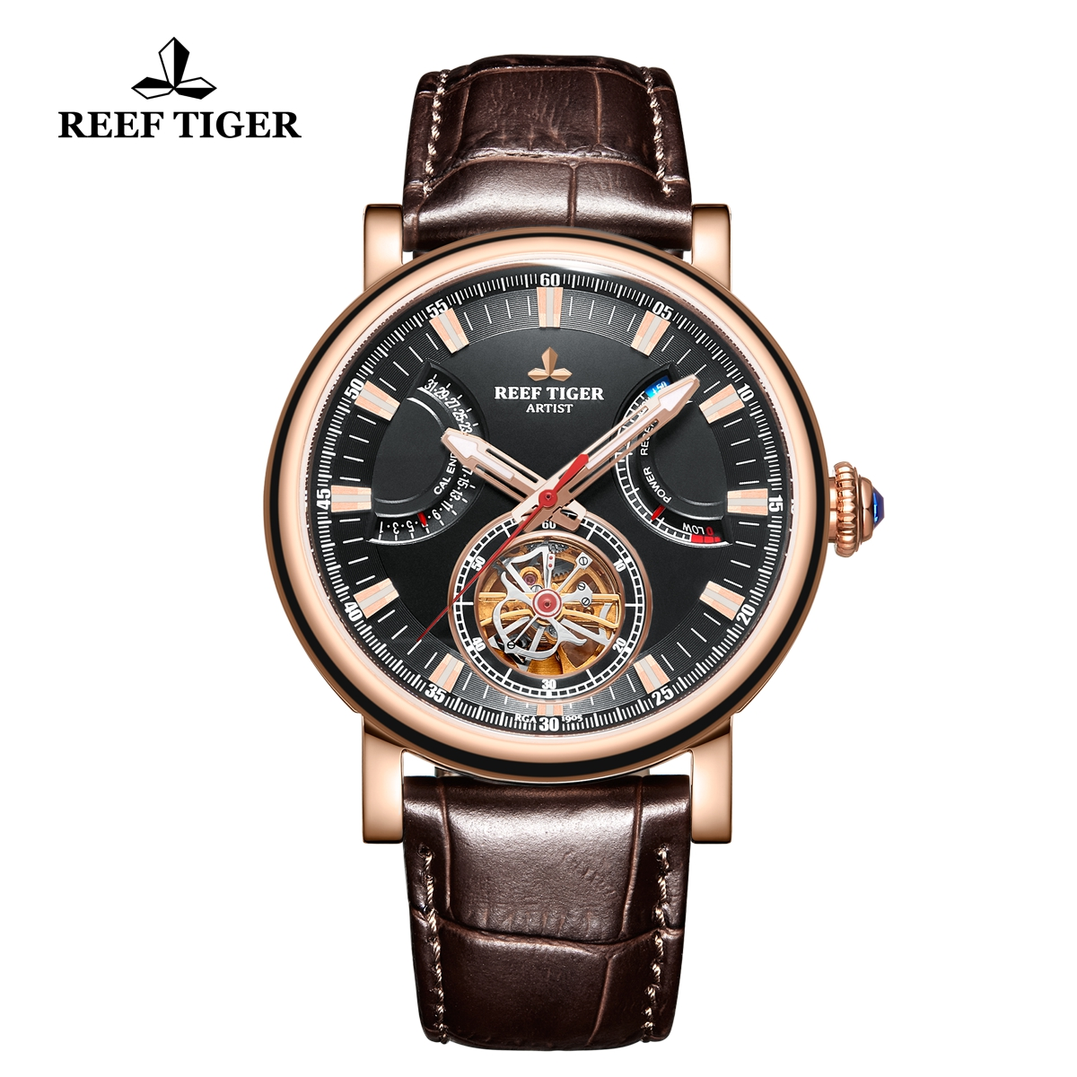 Reef Tiger Artist Photographer Rose Gold Brown Leather Strap Black Dial Tourbillon Automatic Watch RGA1950-PBW