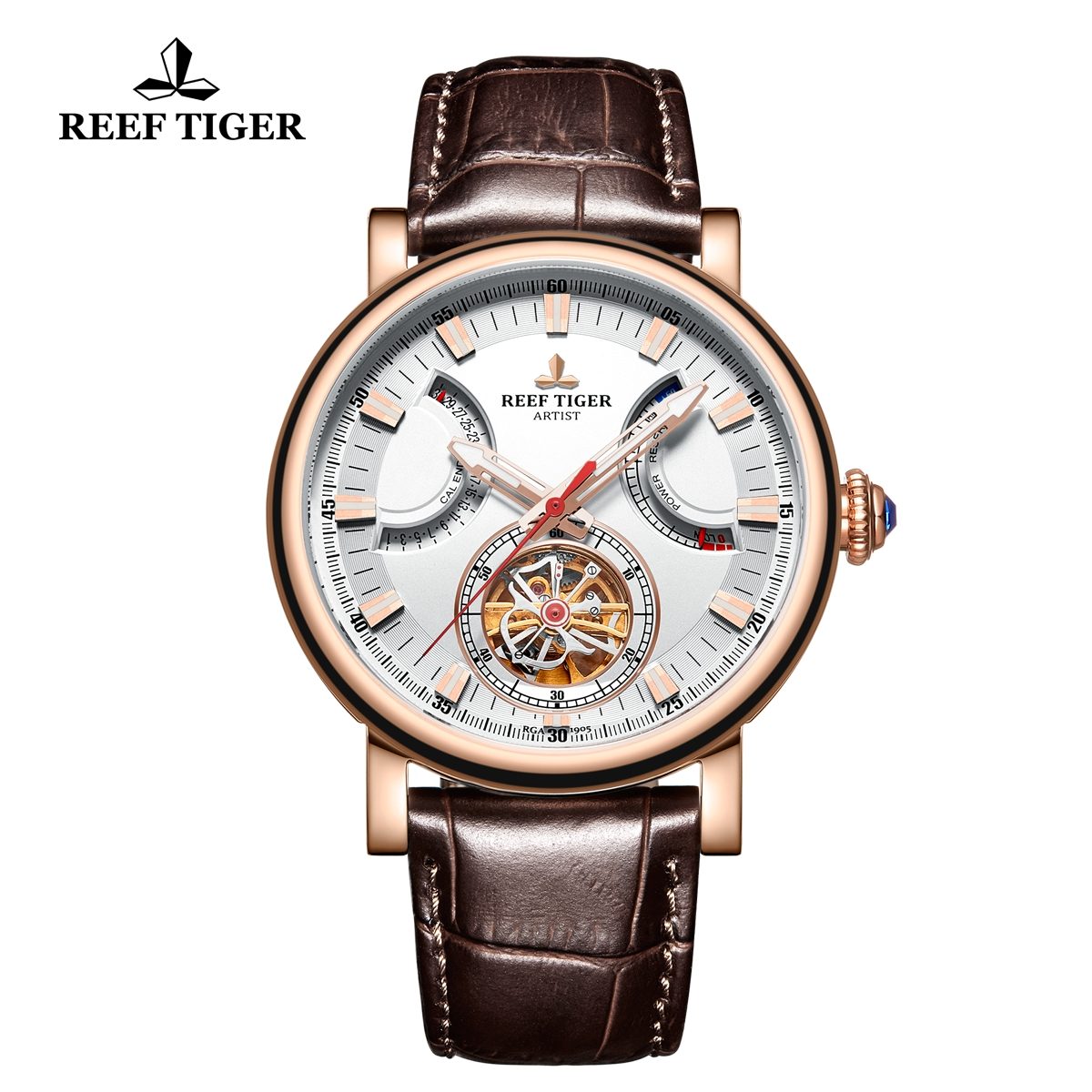 Reef Tiger Artist Photographer Rose Gold Leather Strap White Dial Tourbillon Automatic Watch RGA1950-PWW