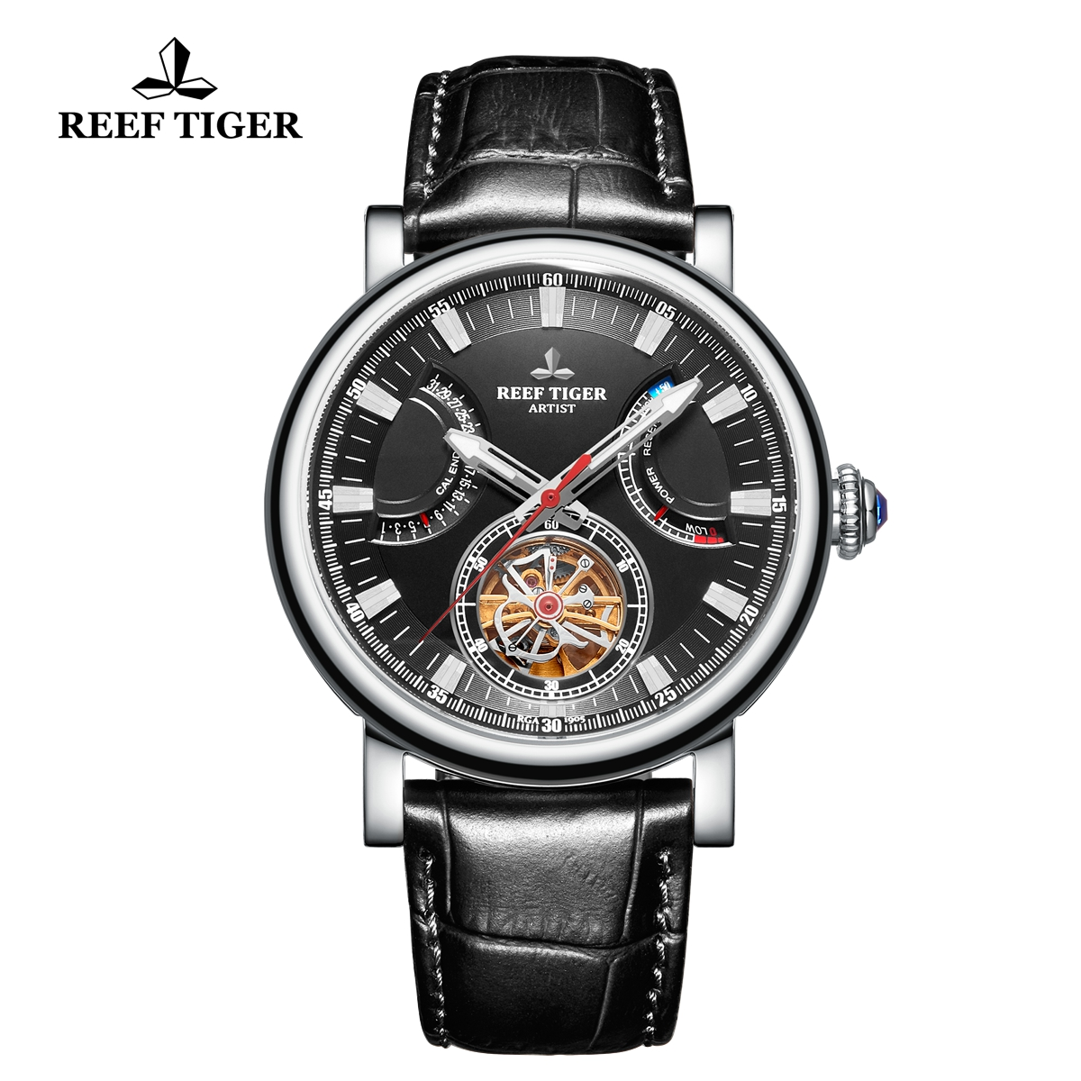 Reef Tiger Artist Photographer Solid Steel Leather Strap Black Dial Tourbillon Automatic Watch RGA1950-YBB