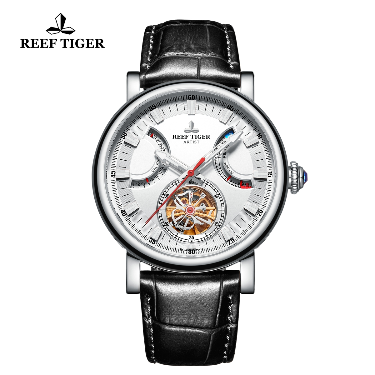 Reef Tiger Artist Photographer Solid Steel Leather Strap White Dial Tourbillon Automatic Watch RGA1950-YWB