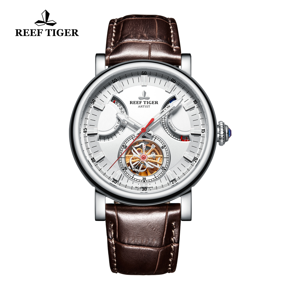 Reef Tiger Artist Photographer Solid Steel Brown Leather Strap White Dial Tourbillon Automatic Watch RGA1950-YWW