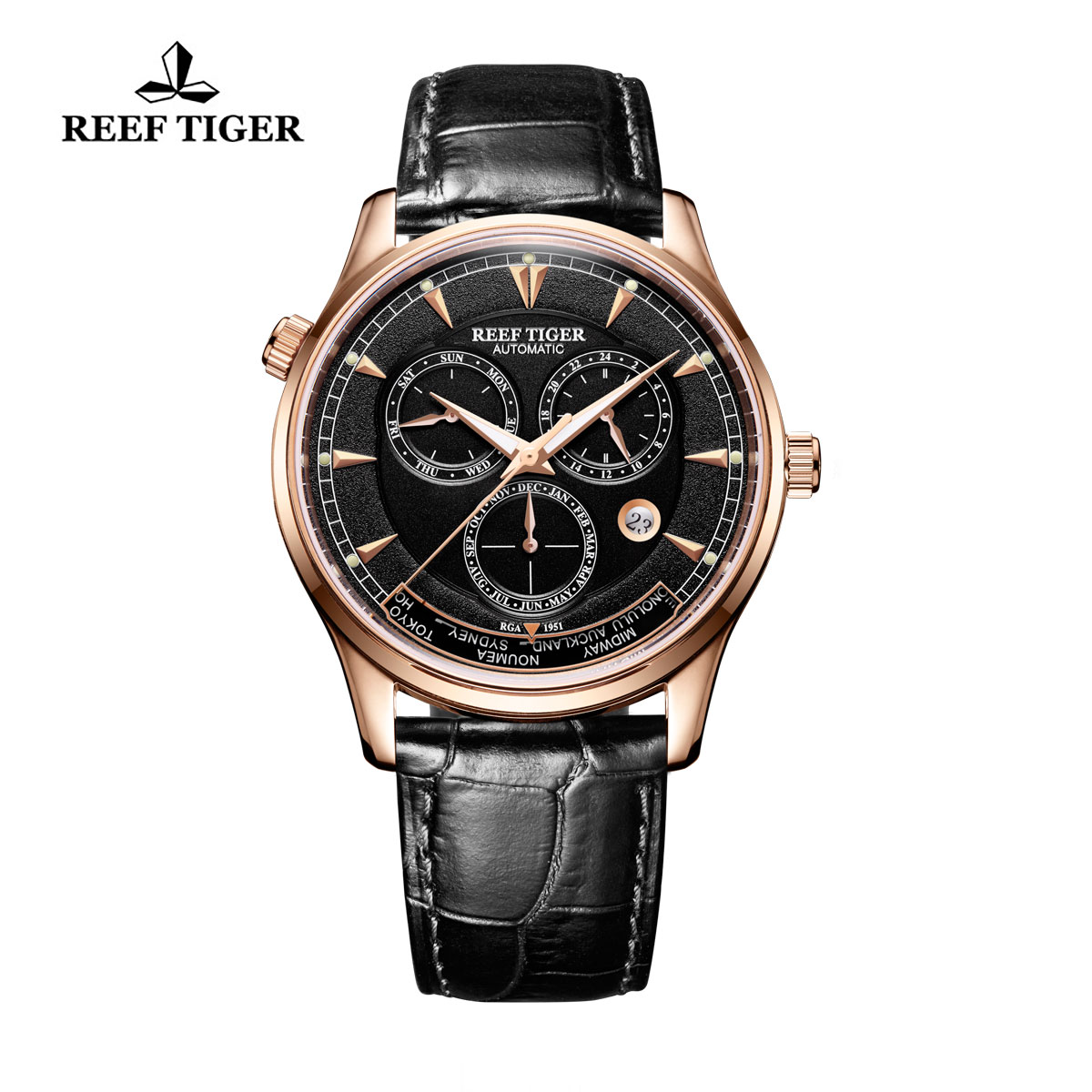 Reef Tiger Geographer Black Dial World Time with Day Date Month Rose Gold Watch RGA1951-PBB