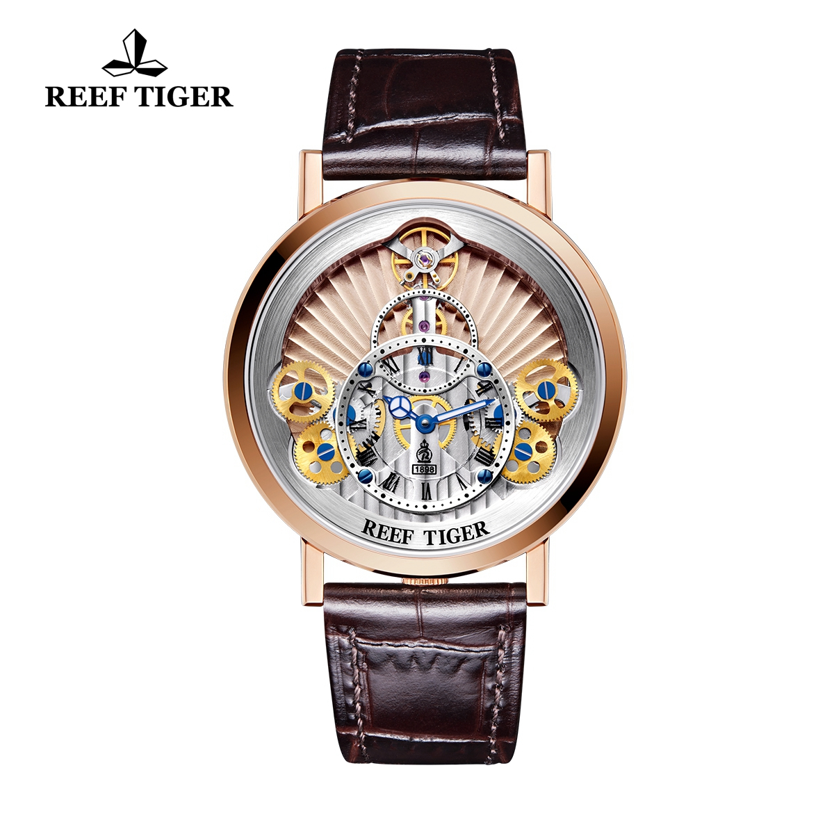 Reef Tiger Artist Rotation Men's Luxury Rose Gold Casual Watches Brown Leather Strap Quartz Watch RGA1958-PPS