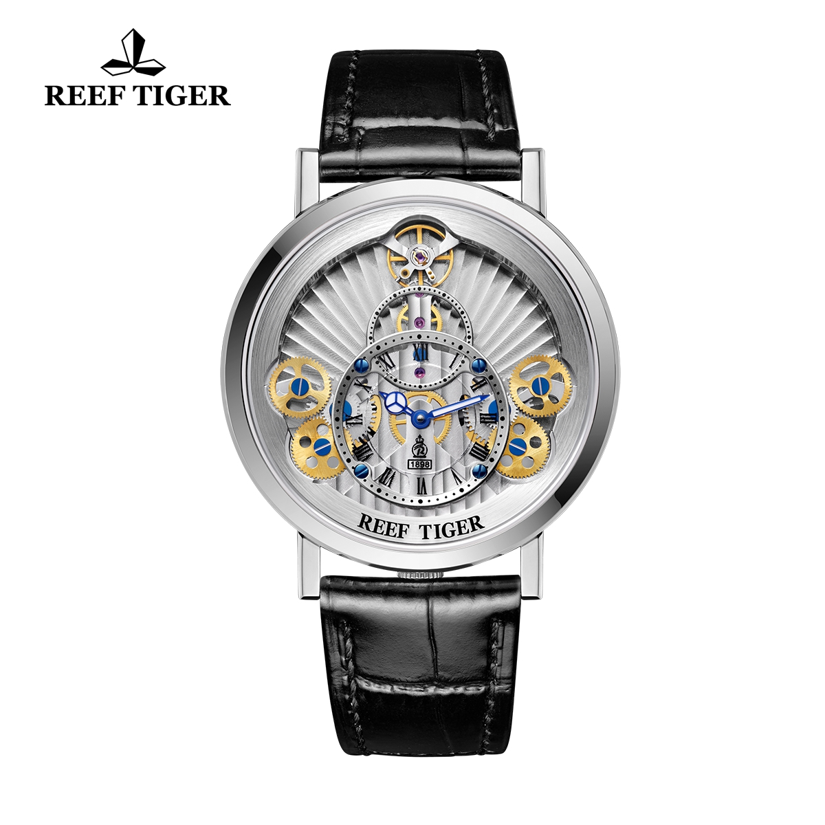 Reef Tiger Artist Rotation Casual Fashion Watches Steel Leather Strap Quartz Watch For Men RGA1958-YSB