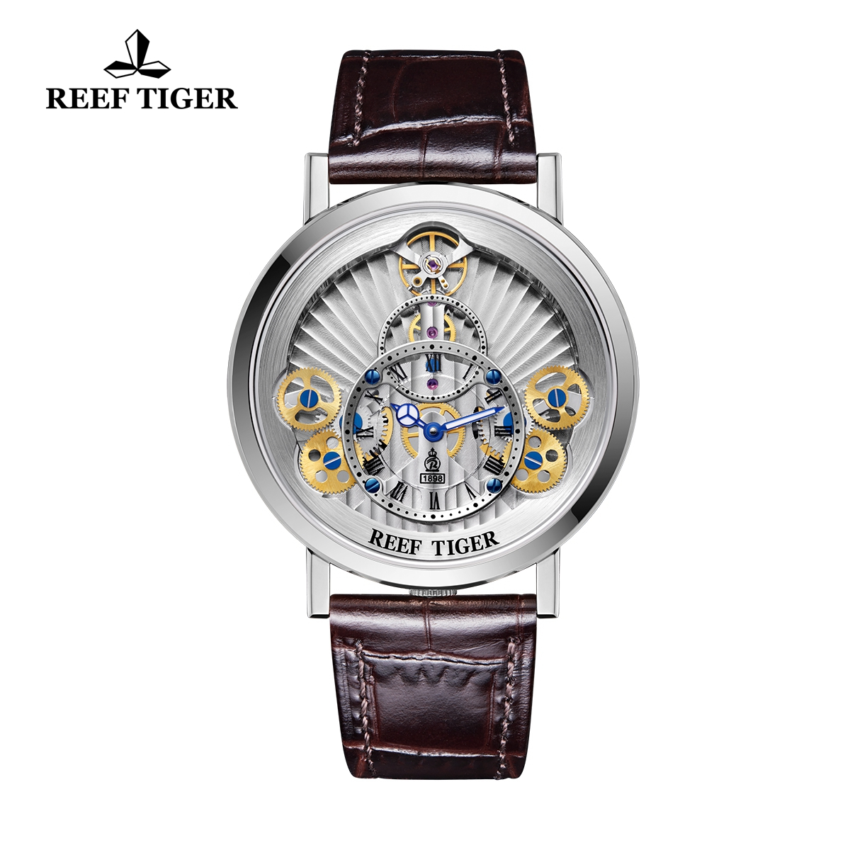 Reef Tiger Artist Rotation Men's Casual Watches Fashion Steel Leather Strap Quartz Watch RGA1958-YSS