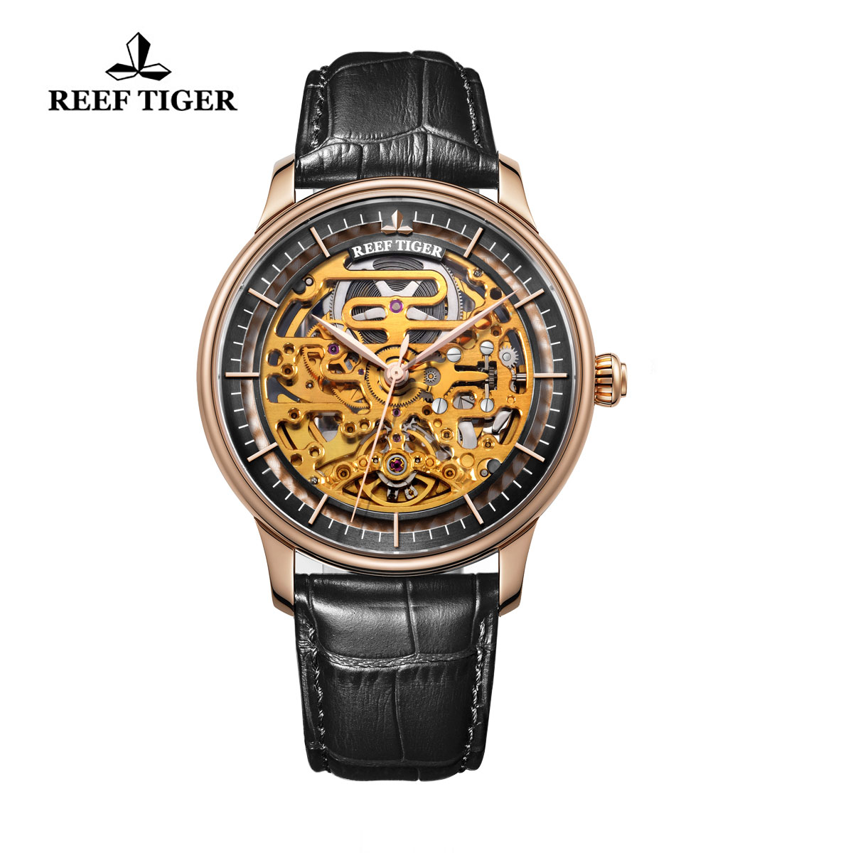 Reef Tiger Musician Casual Watches Automatic Watch Rose Gold Case Leather Strap RGA1975-PBB