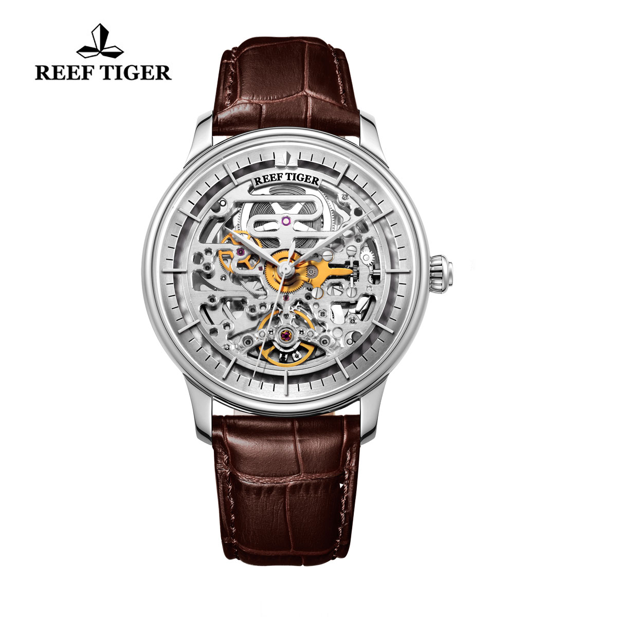 Reef Tiger Musician Casual Watches Automatic Watch Steel Case Leather Strap RGA1975-YWB