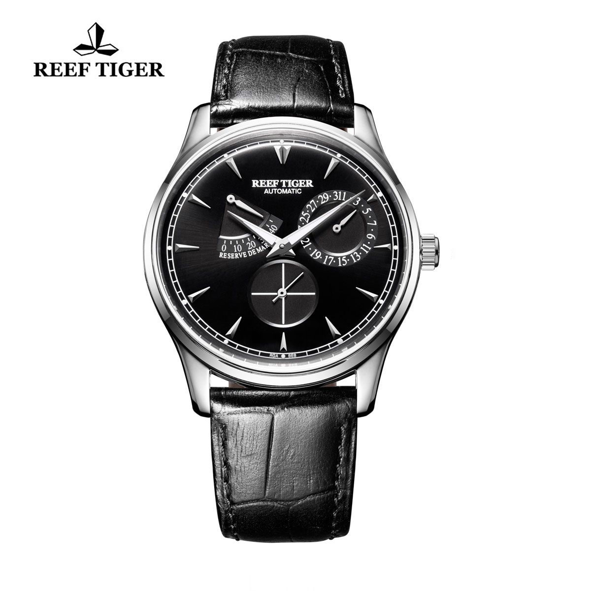 Reef Tiger Grand Master Black Dial Power Reserve Automatic Men Watch Stainless Steel RGA1980-YBB