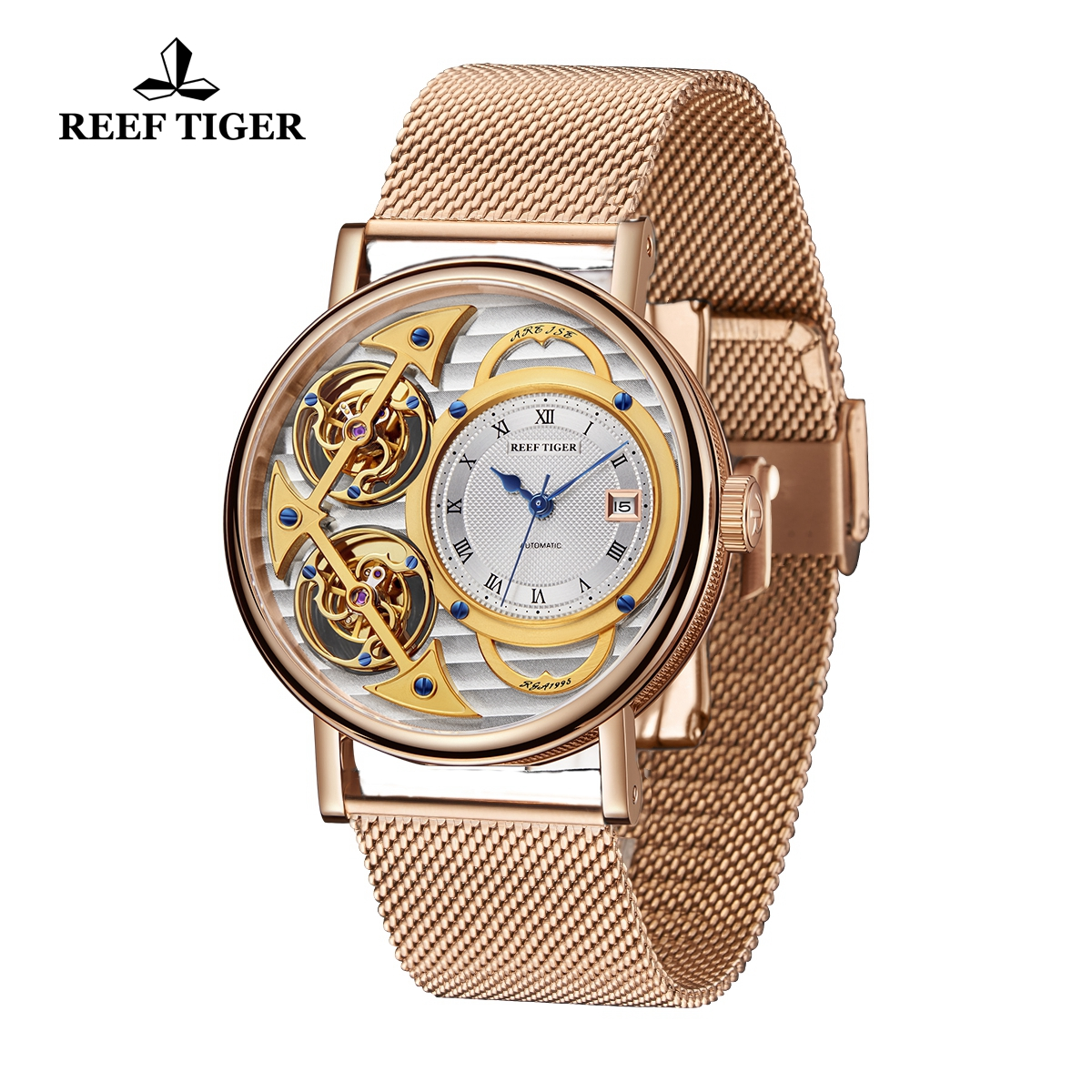 Reef Tiger Artist Magician Luxury Men\'s Rose Gold Watches Skeleton Dial Automatic Watch With Date RGA1995-PSPS