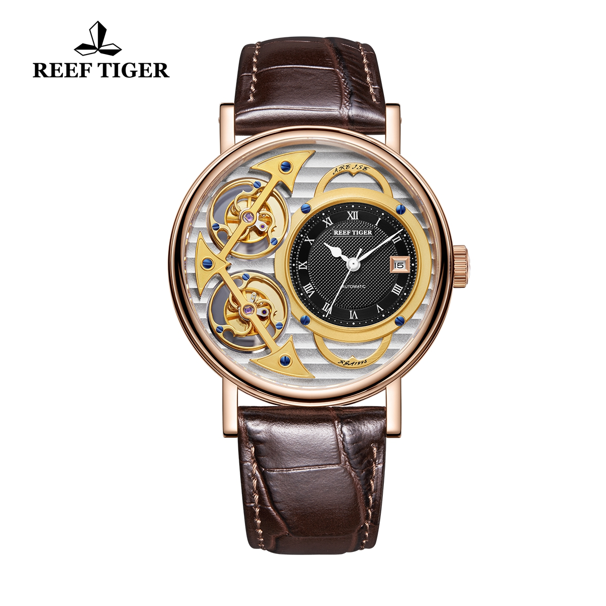 Reef Tiger Artist Magician Luxury Men's Rose Gold Watches Leather Strap Automatic Watch With Date RGA1995-PSSB