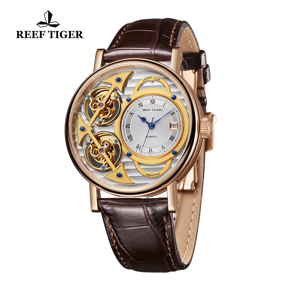 Reef Tiger Artist Magician Rose Gold Men Watch Skeleton Dial Leather Strap Automatic Watches With Date RGA1995-PSSS