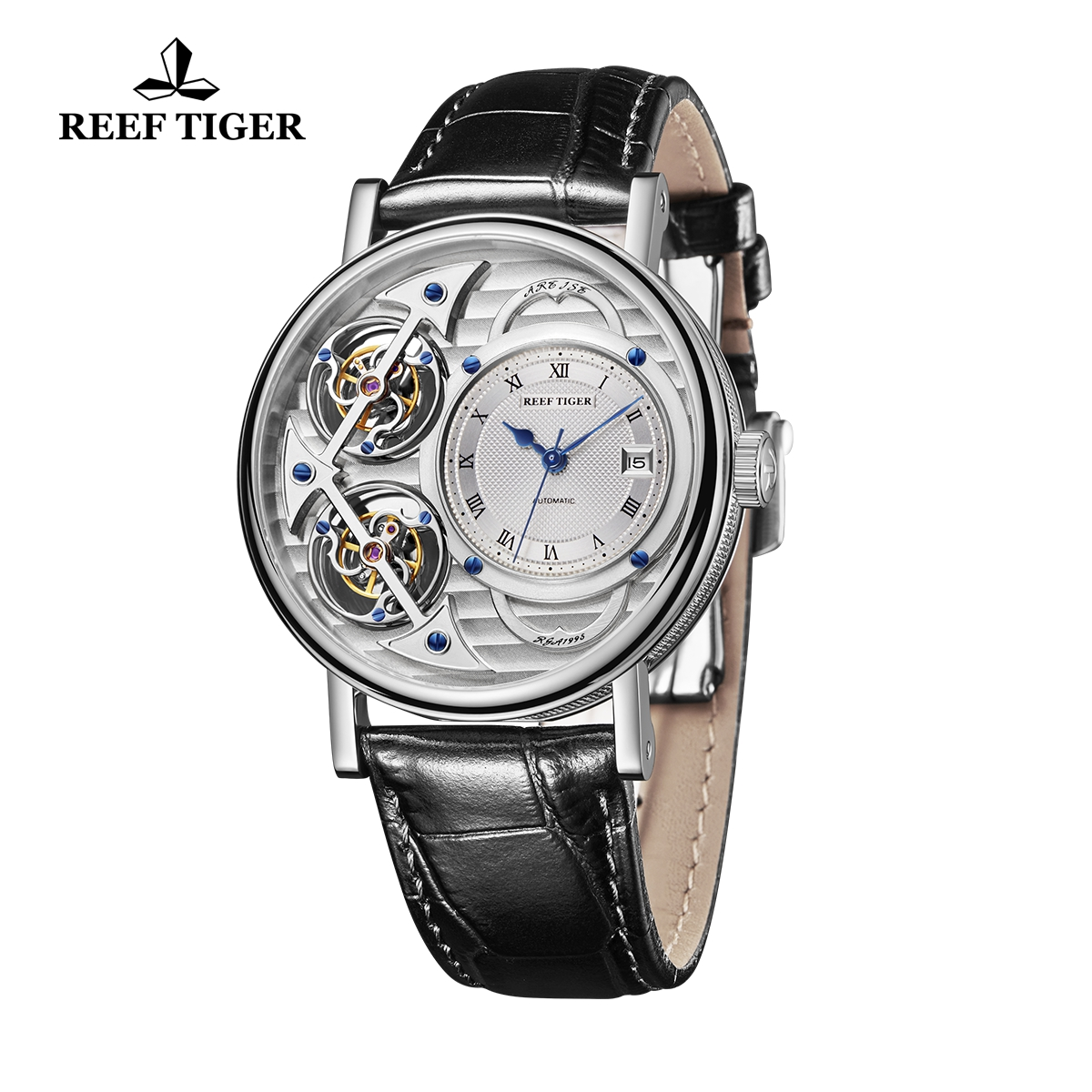 Reef Tiger Artist Magician Fashion Men\'s Steel Watches Leather Strap Automatic Watch With Date RGA1995-YSBS