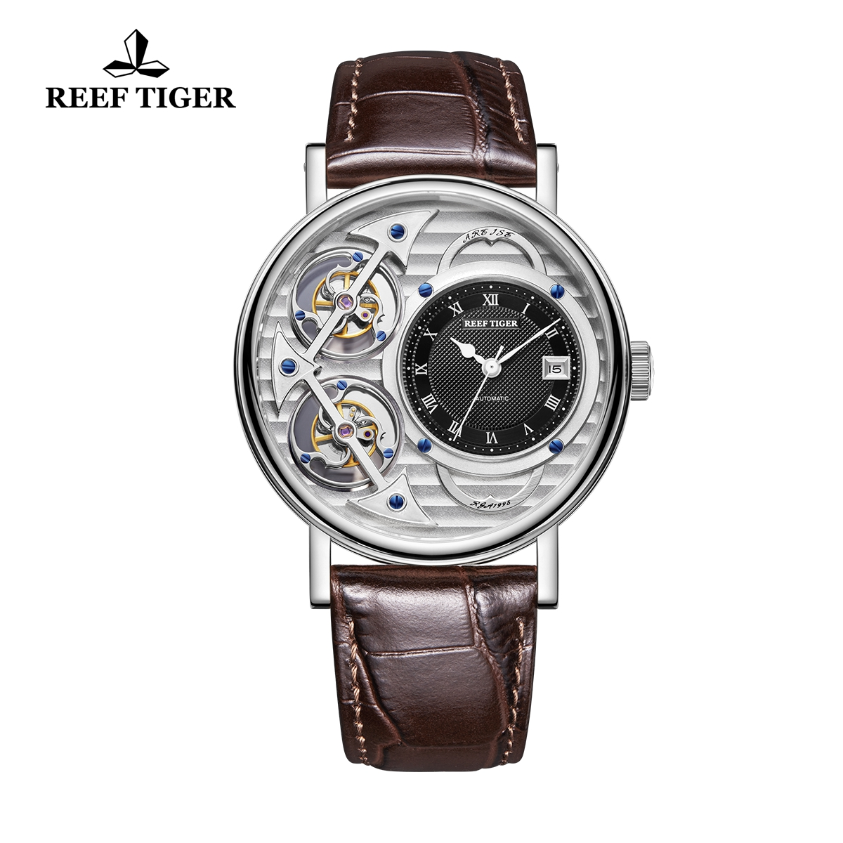 Reef Tiger Artist Magician Fashion Men's Steel Watches Leather Strap Automatic Watch With Date RGA1995-YSSB