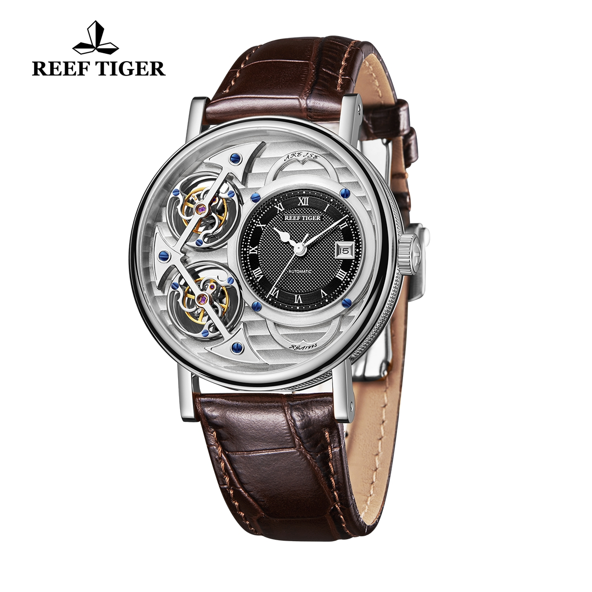 Reef Tiger Artist Magician Fashion Men\'s Steel Watches Leather Strap Automatic Watch With Date RGA1995-YSSB