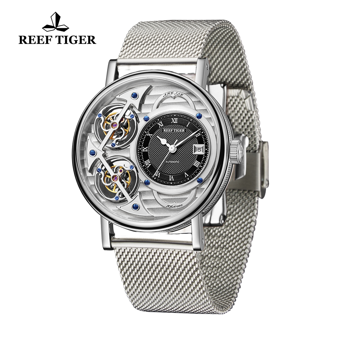 Reef Tiger Artist Magician Fashion Men\'s Steel Watches Skeleton Dial Automatic Watch With Date RGA1995-YSYB