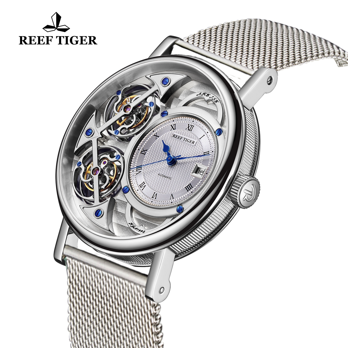 Reef Tiger Artist Magician Men\'s Steel Casual Watches Skeleton Dial Automatic Watch With Date RGA1995-YSYS