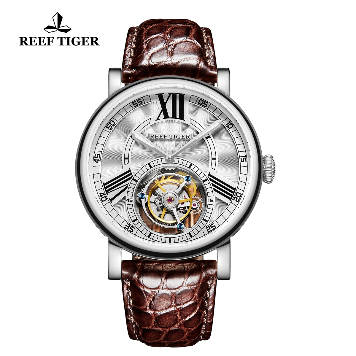 Reef Tiger Artist Graver Fashion Steel Leather Strap White Dial Tourbillon Watch RGA1999-YWS