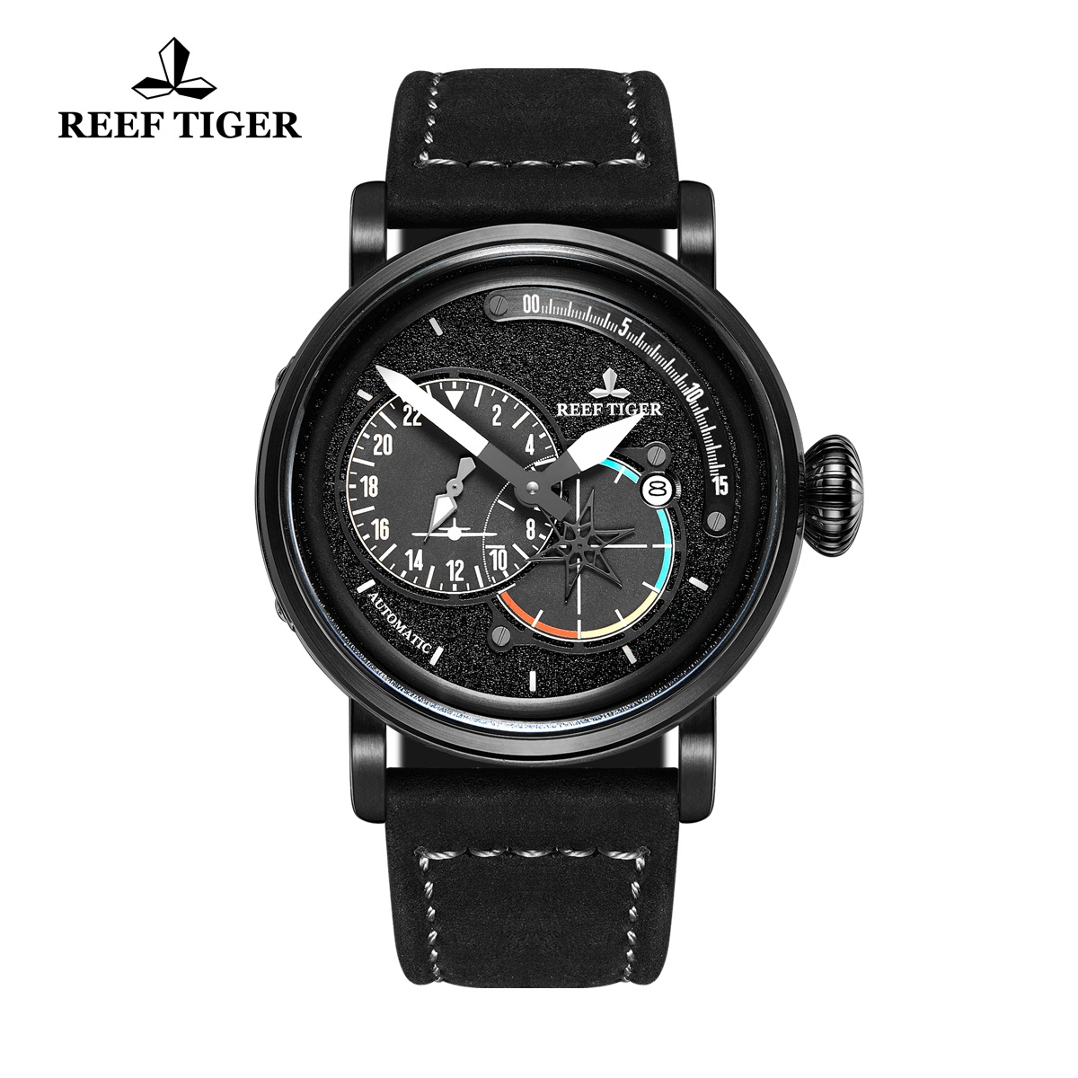 Reef Tiger Pilot Fashion Mens Watches PVD Case Black Dial Leather Strap Watches RGA3019-BBB