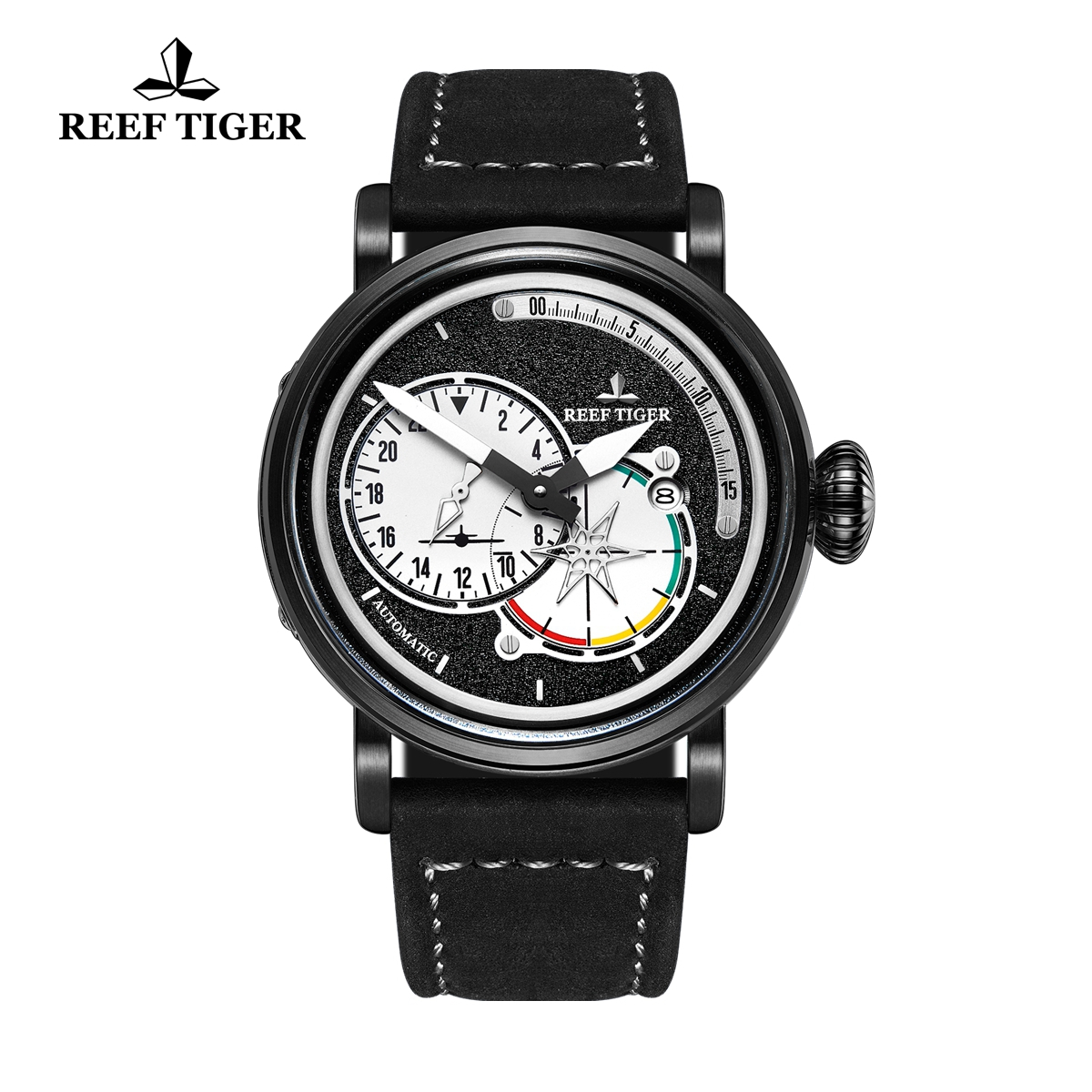 Reef Tiger Pilot Fashion Mens Watches PVD Case Black Dial Leather Strap Watches RGA3019-BWB