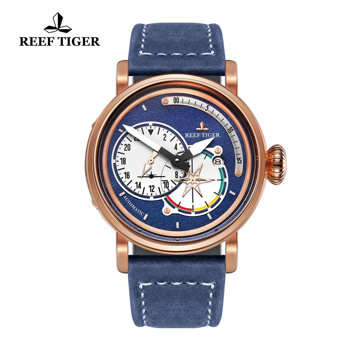 Reef Tiger Pilot Mens Watches Rose Gold Case Blue Dial Leather Strap Watches RGA3019-PLL