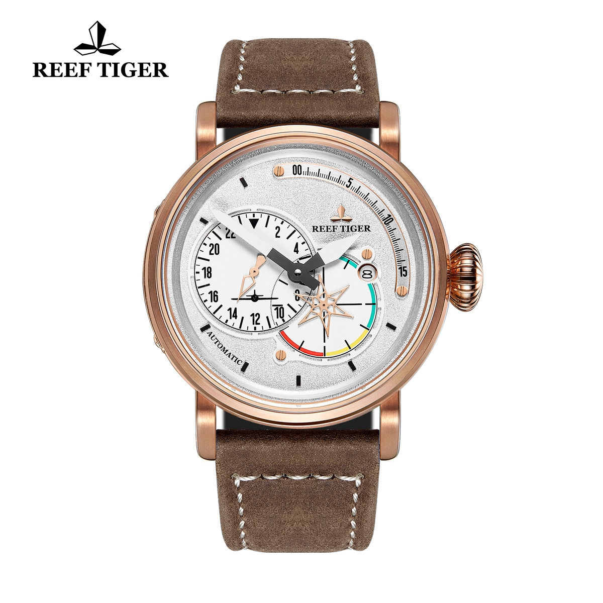 Reef Tiger Pilot Mens Watches Rose Gold Case White Dial Leather Strap Watches RGA3019-PWS