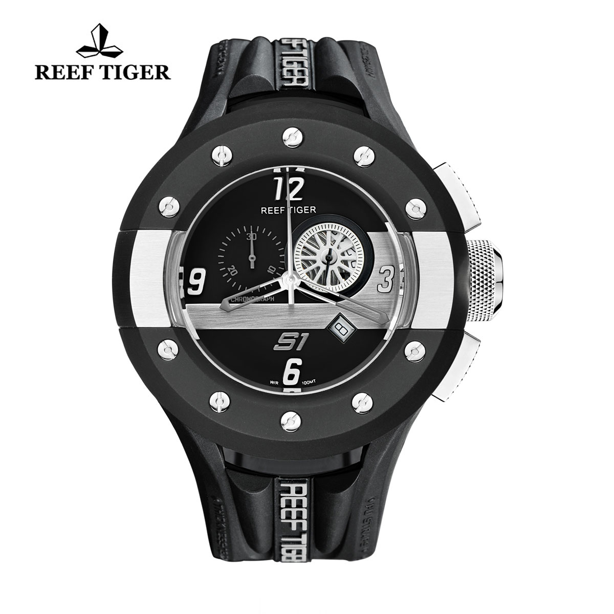 Reef Tiger Rally S1 Casual Watch Stainless Steel Rubber Strap Dashboard Dial Quartz Watch RGA3027-BBBW