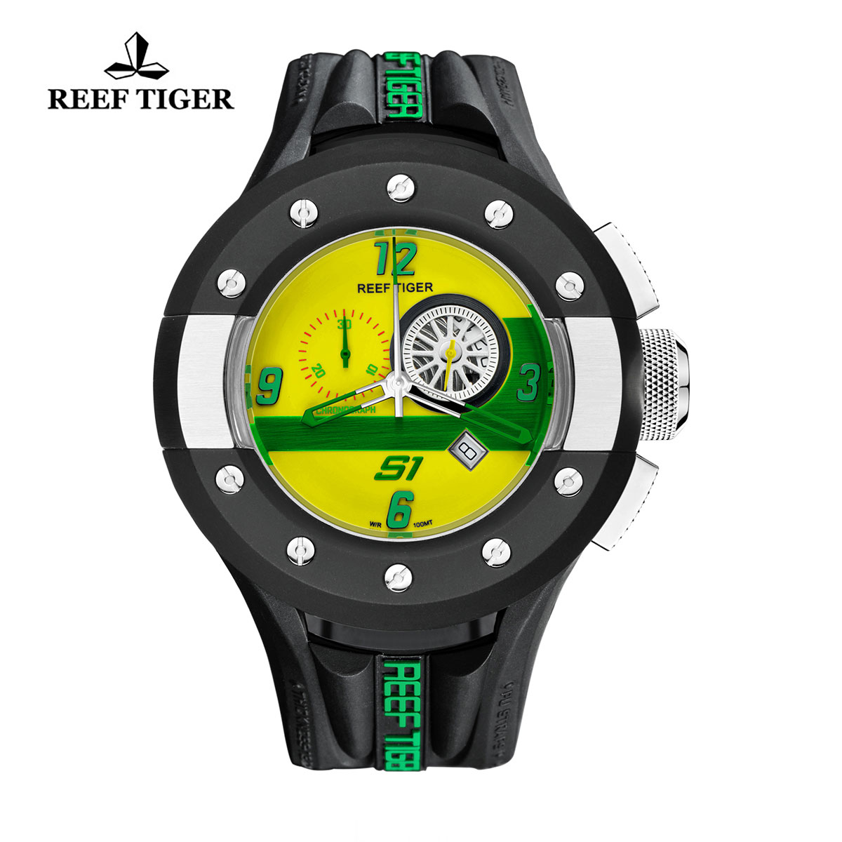 Reef Tiger Rally S1 Casual Watch Stainless Steel Rubber Strap Yellow Dashboard Dial Quartz Watch RGA3027-BGBN