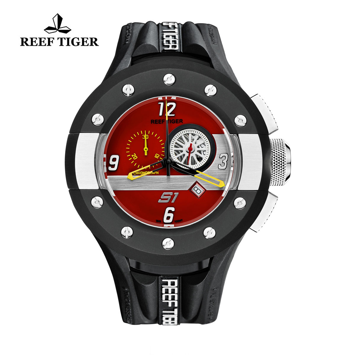 Reef Tiger Rally S1 Casual Watch Stainless Steel Rubber Strap Red Dashboard Dial Quartz Watch RGA3027-BRBW