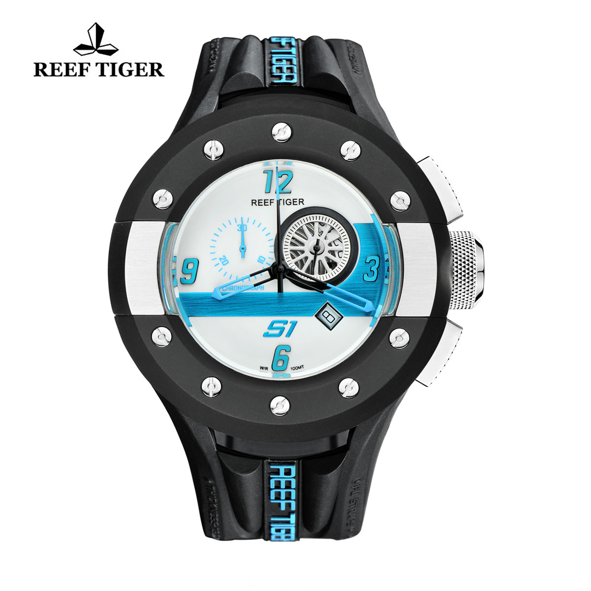 Reef Tiger Rally S1 Casual Watch Stainless Steel Rubber Strap White Dashboard Dial Quartz Watch RGA3027-BWBL