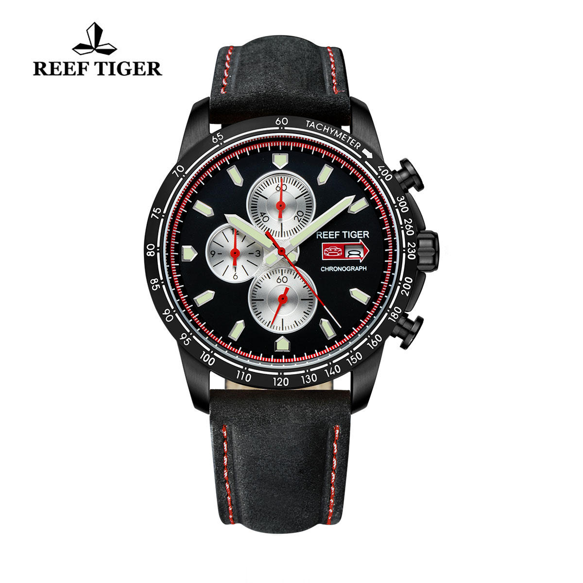 Reef Tiger Racing Casual Watch Black PVD Black Dial Leather Strap Chronograph Watch RGA3029-BBB