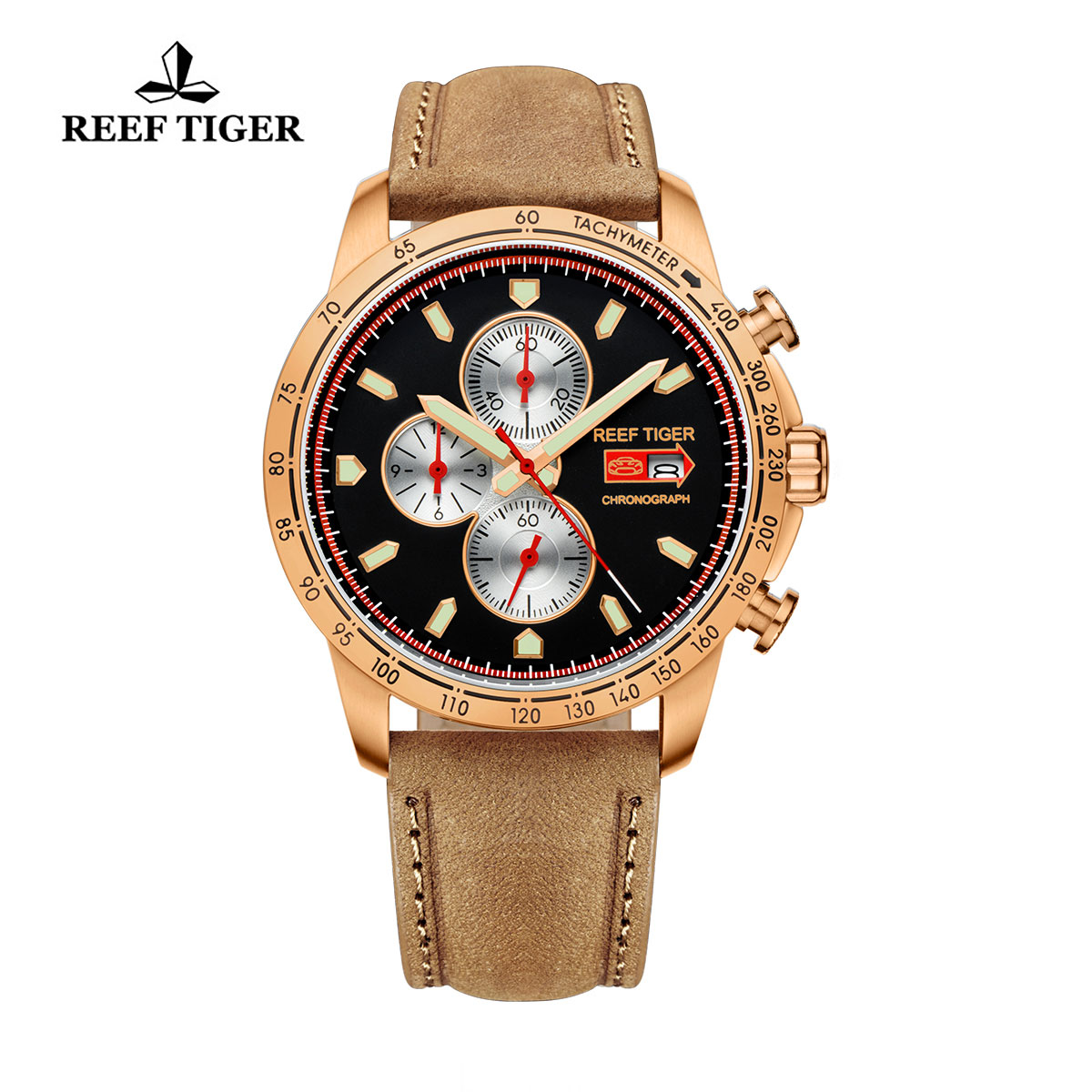 Reef Tiger Racing Casual Watch Rose Gold Black Dial Leather Strap Chronograph Watch RGA3029-PBB