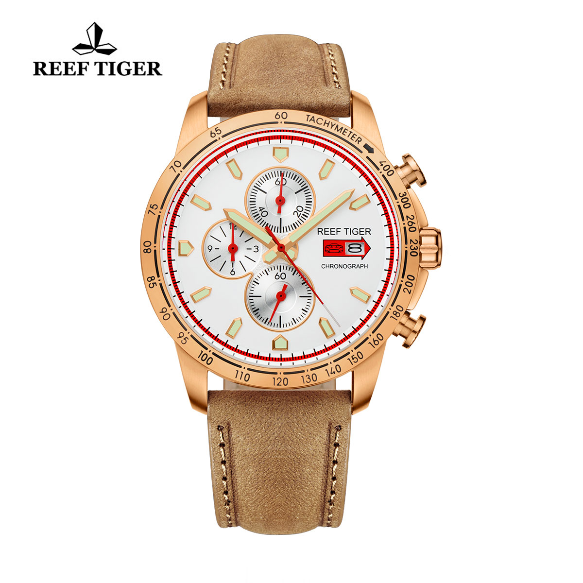 Reef Tiger Racing Casual Watch Rose Gold White Dial Leather Strap Chronograph Watch RGA3029-PWB