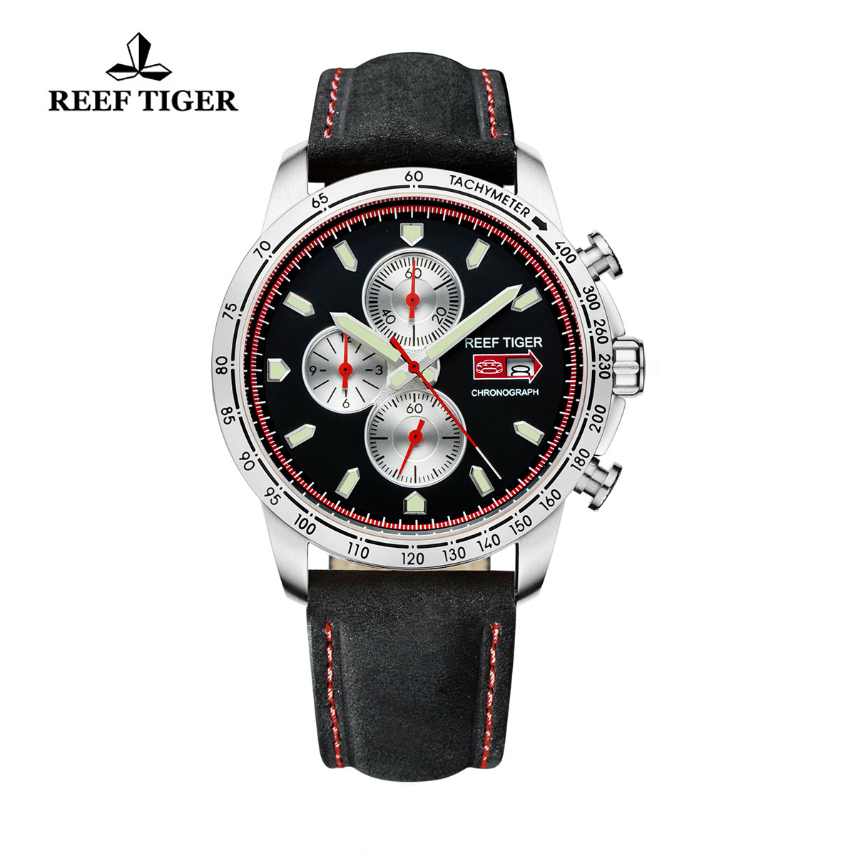 Reef Tiger Racing Casual Watch Stainless Steel Black Dial Leather Strap Chronograph Watch RGA3029-YBB