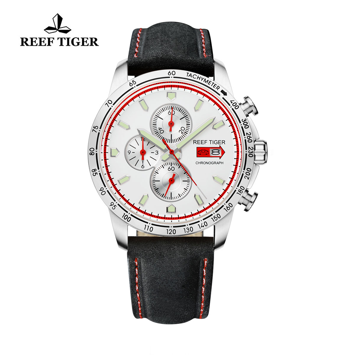 Reef Tiger Racing Casual Watch Stainless Steel White Dial Leather Strap Chronograph Watch RGA3029-YWB