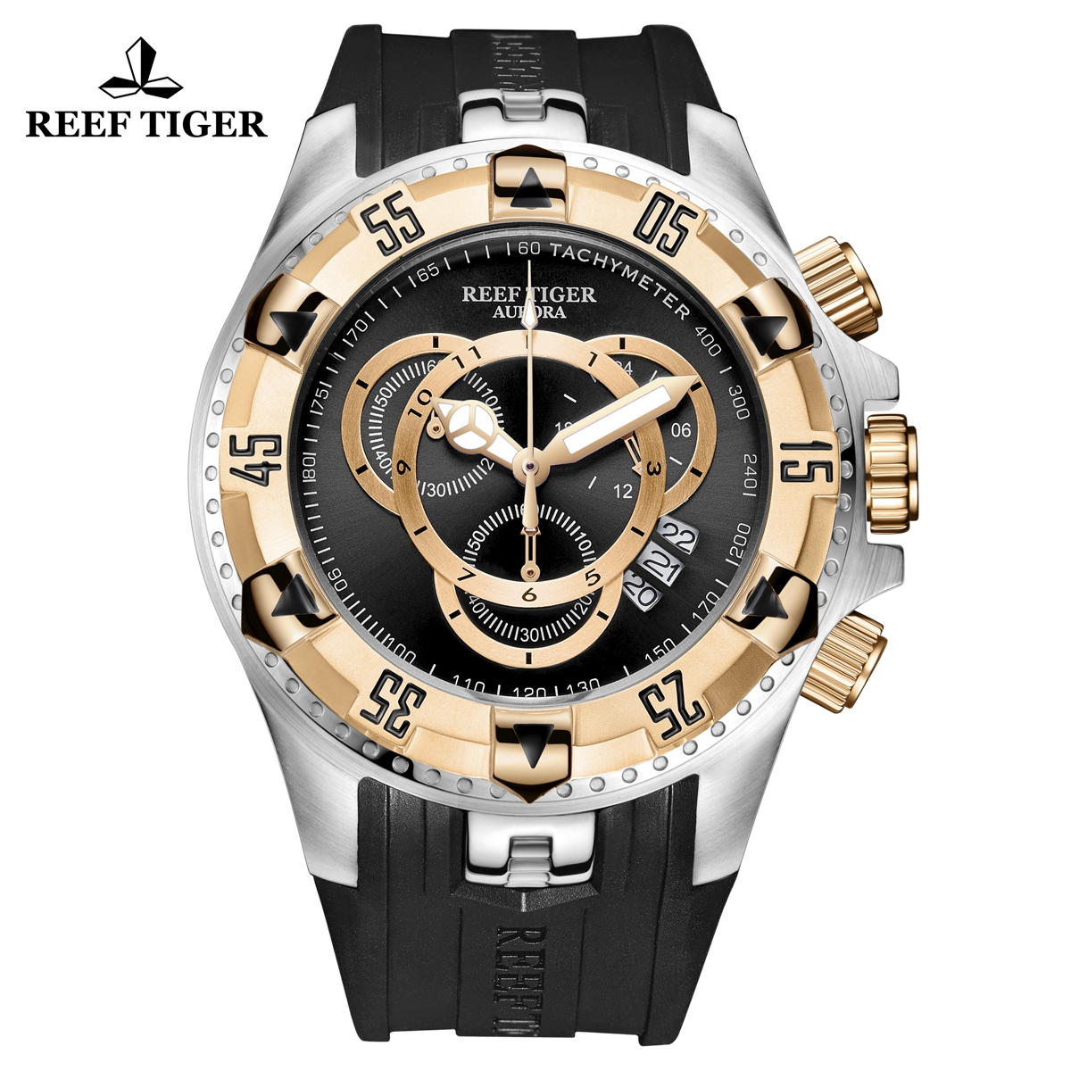 Reef Tiger Aurora Hercules II Fashion Steel/Rose Gold Rubber Strap Black Dial Quartz Watch RGA303-2-YBBG