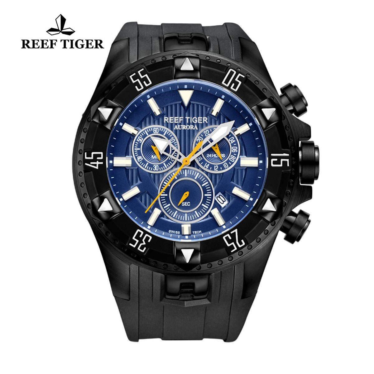 Reef Tiger Hercules Sport Watches Chronograph Black PVD Case Blue Dial Watch RGA303-BLB