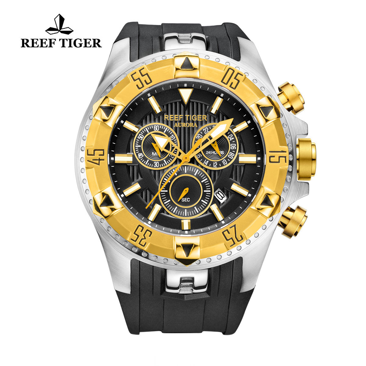 Reef Tiger Hercules Sport Watches Chronograph Steel Case Yellow Gold Bezel Black Dial Watch RGA303-GBB