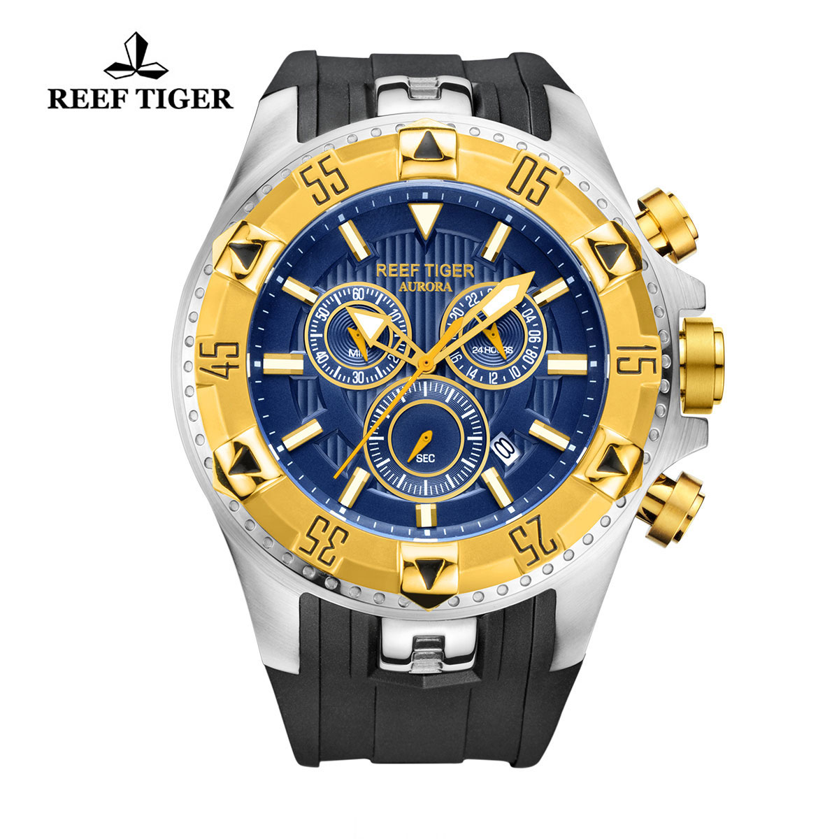 Reef Tiger Hercules Sport Watches Chronograph Steel Case Yellow Gold Bezel Blue Dial Watch RGA303-GLB