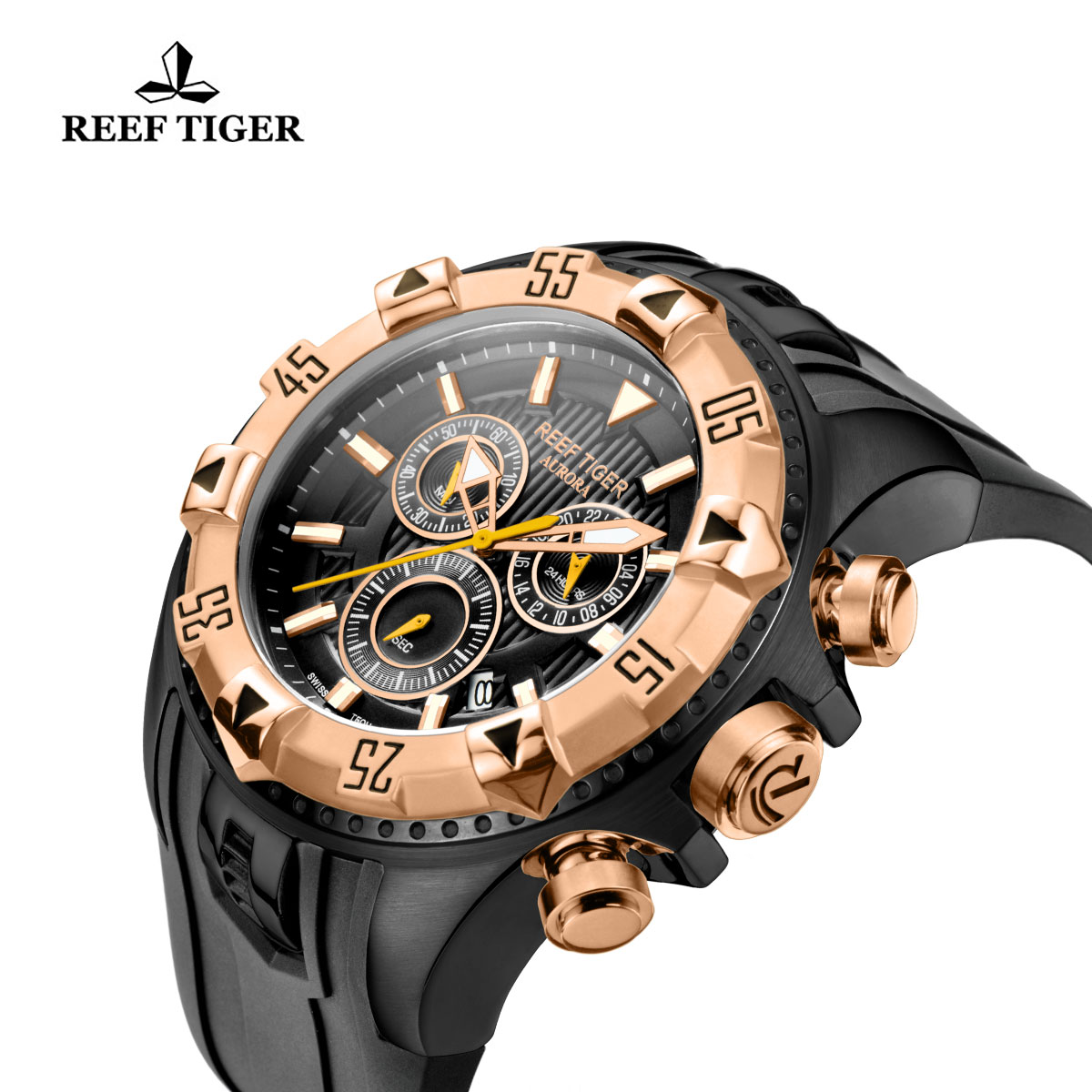 Reef Tiger Hercules Sport Watches Chronograph PVD Case Rose Gold Bezel Black Dial Watch RGA303-PBB