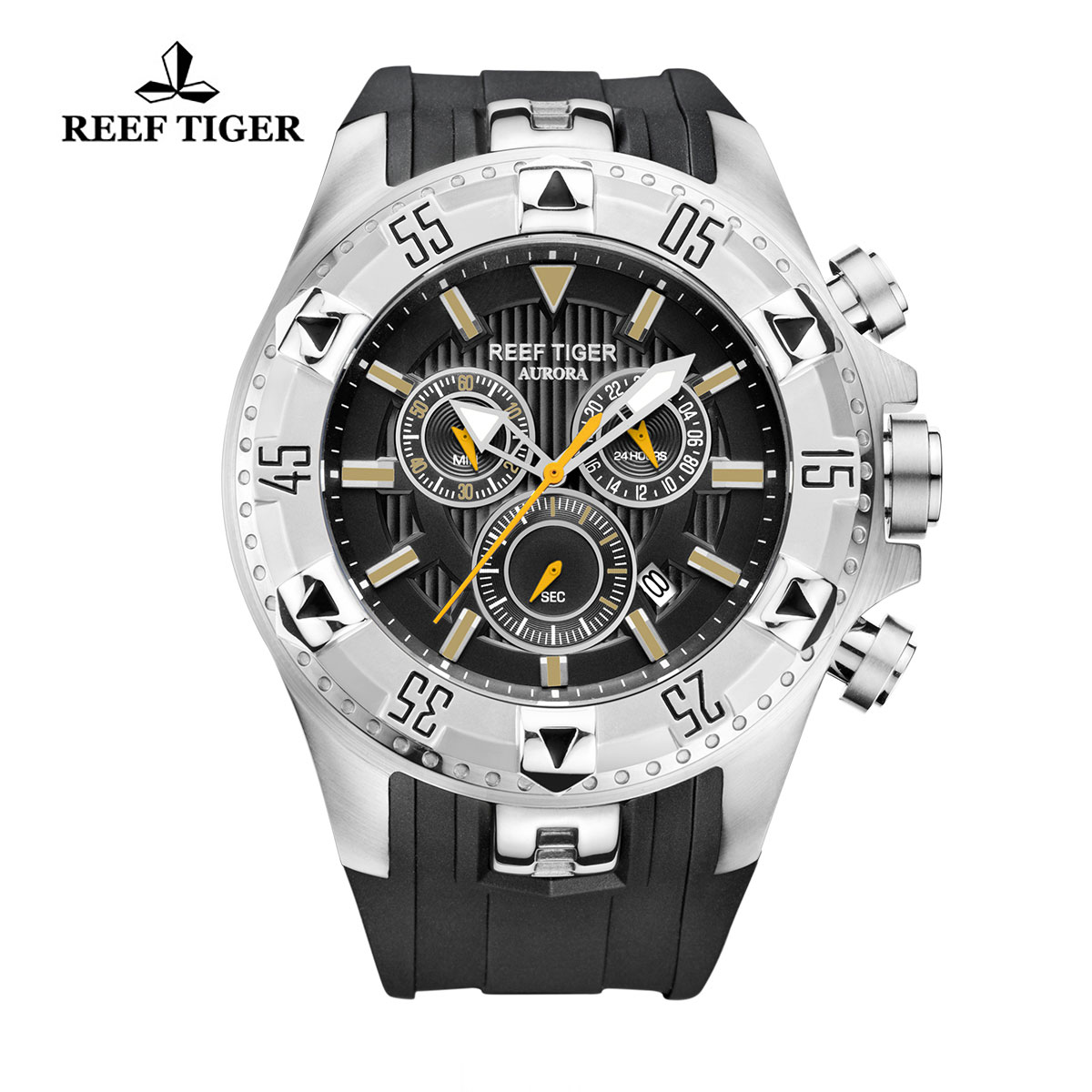 Reef Tiger Hercules Sport Watches Chronograph Steel Case Black Rubber Black Dial Watch RGA303-YBB