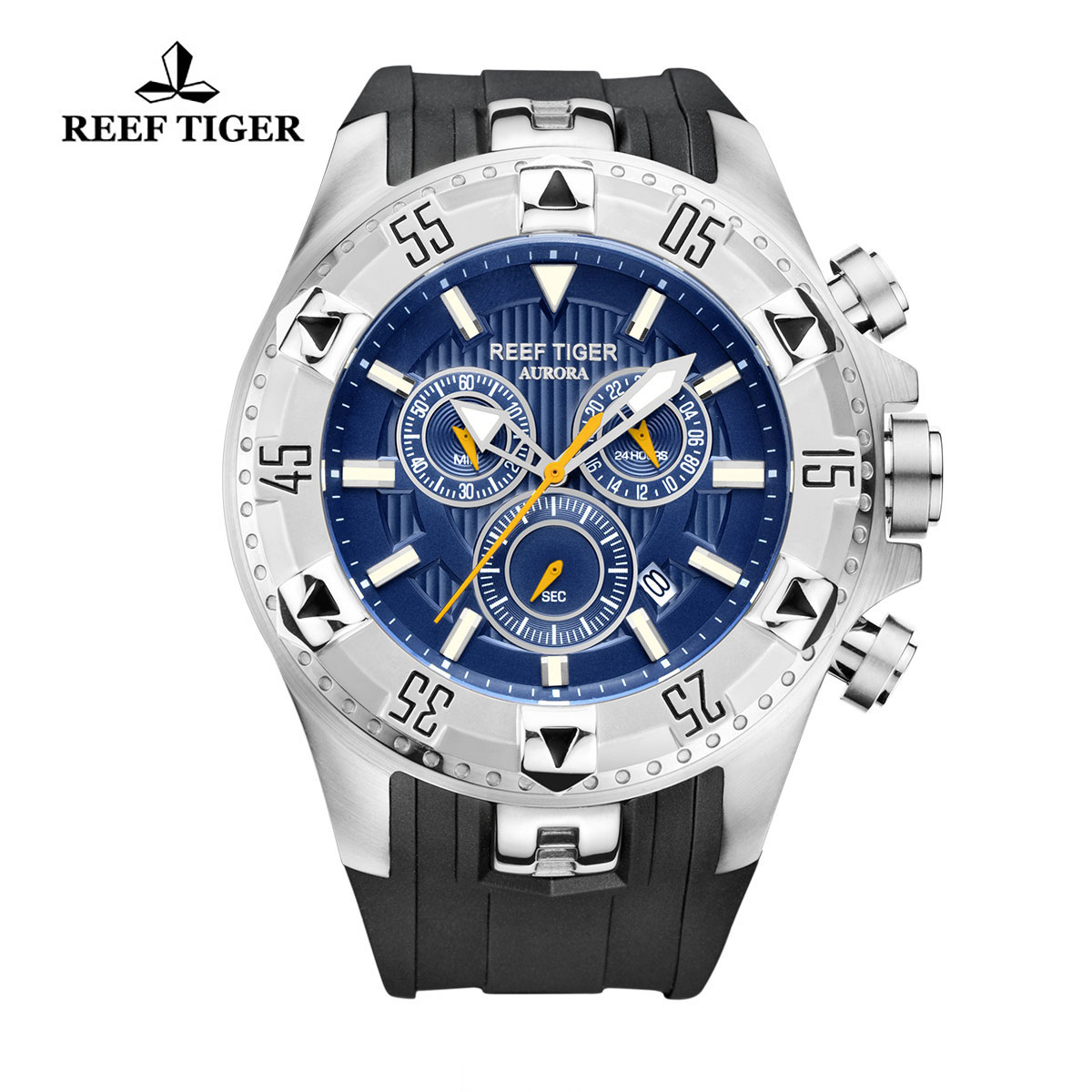 Reef Tiger Hercules Sport Watches Chronograph Steel Case Black Rubber Blue Dial Watch RGA303-YLB