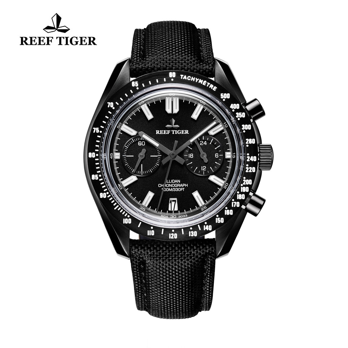 Reef Tiger Illidan Quartz Watches Chronograph PVD Case Black Dial Leather Strap Watches RGA3033-BBB